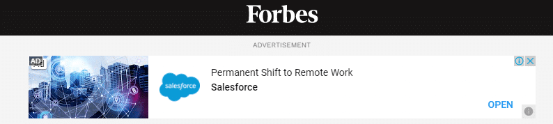 Example of a display ad on partner website