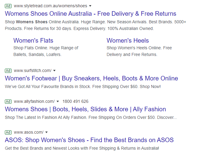 Examples of text ads on search engines