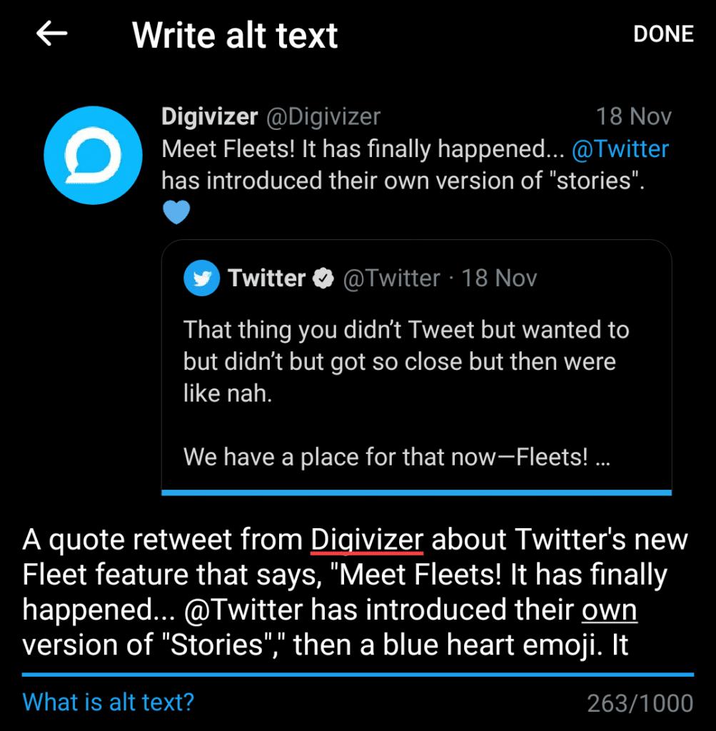 Alternative text on a Twitter Fleet
